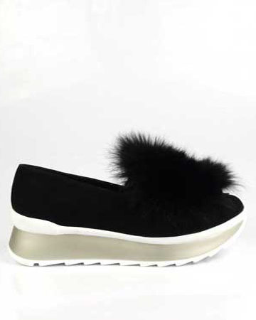 Incaltaminte, pantofi cu blana negri (mineli - ionut glavan)