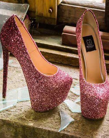 Pantofi de damă Mineli Lolita Glitter Faded Pink 1