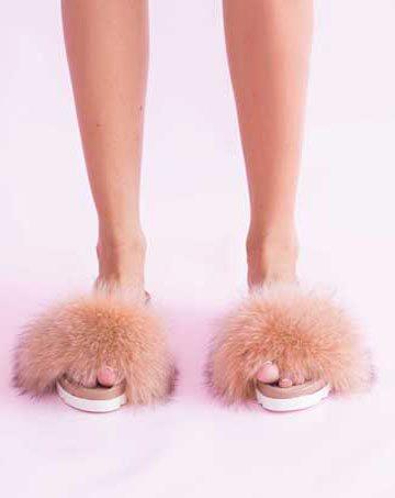 Saboți de dama Mineli Flip Flop Fur Beige 1