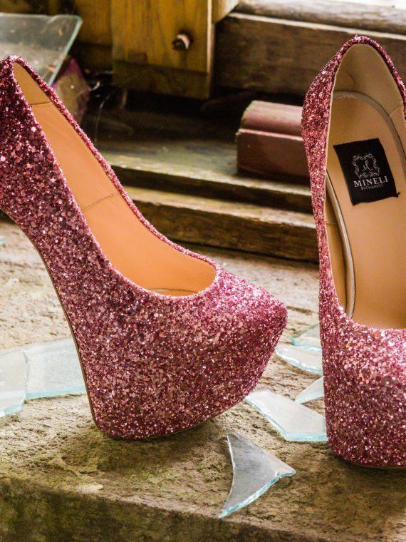 Pantofi de damă Mineli Lolita Glitter Faded Pink