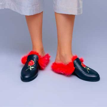 Saboti de dama Mineli Red Fur Slippers