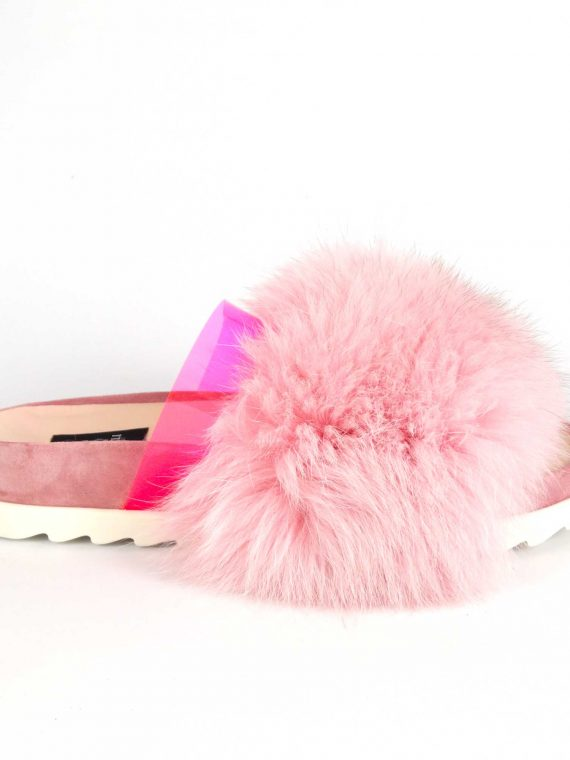 Saboți de dama Mineli Flip Flop Fur Pink