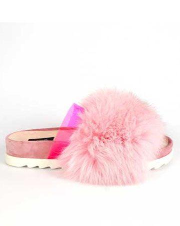 Saboți de dama Mineli Flip Flop Fur Pink 1